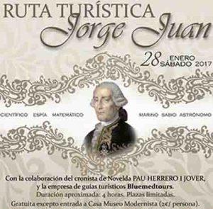 RUTA TURÍSTICA JORGE JUAN PARA EL SÁBADO 28 DE ENERO EN NOVELDA